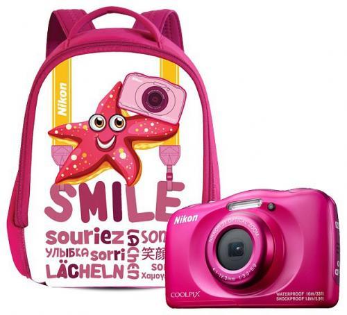 Nikon Coolpix W100 digitális fényképezőgép pink + hátizsák szett   DigitalPlaza.hu